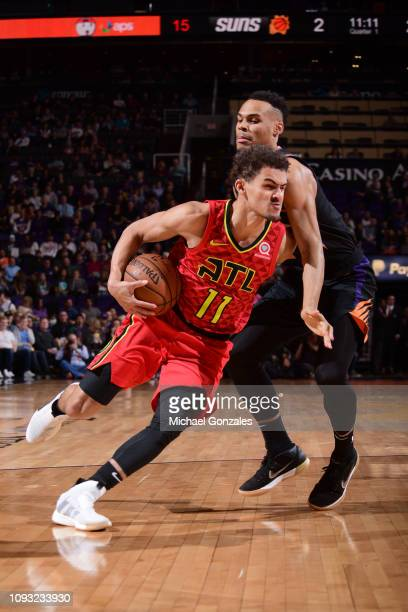 Trae Young of the Atlanta Hawks drives to the basket against the Phoenix Suns on February 2 2019 at Talking Stick Resort Arena in Phoenix Arizona...