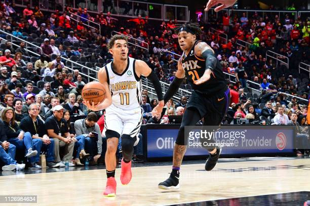 Trae Young of the Atlanta Hawks drives to the basket against the Phoenix Suns on February 23 2019 at State Farm Arena in Atlanta Georgia NOTE TO USER...