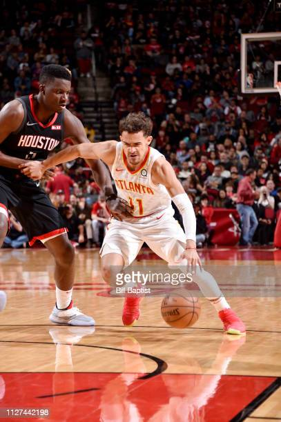 Trae Young of the Atlanta Hawks drives to the basket against the Houston Rockets on February 25 2019 at the Toyota Center in Houston Texas NOTE TO...