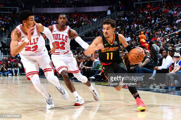 Trae Young of the Atlanta Hawks drives to the basket against the Chicago Bulls on March 1 2019 at State Farm Arena in Atlanta Georgia NOTE TO USER...
