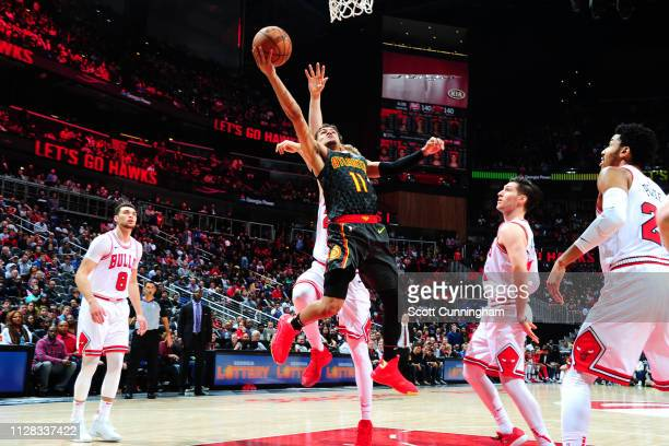 Trae Young of the Atlanta Hawks drives to the basket for layup against the Chicago Bulls on March 1 2019 at State Farm Arena in Atlanta Georgia NOTE...