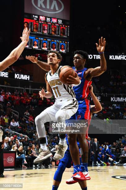 Trae Young of the Atlanta Hawks goes to the basket against the Detroit Pistons on November 9 2018 at the State Farm Arena in Atlanta Georgia NOTE TO...
