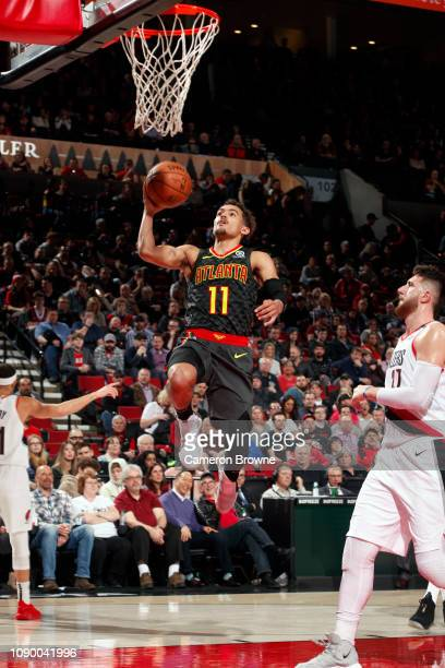 Trae Young of the Atlanta Hawks goes to the basket against the Portland Trail Blazers on January 26 2019 at the Moda Center in Portland Oregon NOTE...