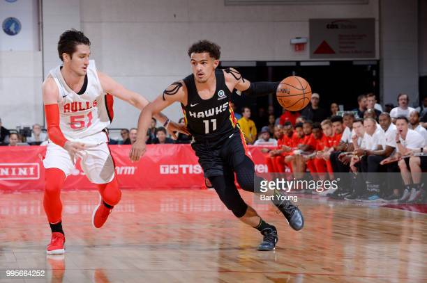 Trae Young of the Atlanta Hawks handles the ball against the Chicago Bulls during the 2018 Las Vegas Summer League on July 10 2018 at the Cox...