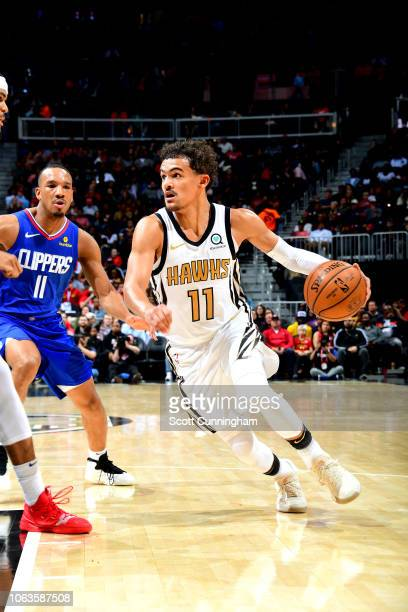 Trae Young of the Atlanta Hawks handles the ball against the LA Clippers on November 19 2018 at State Farm Arena in Atlanta Georgia NOTE TO USER User...