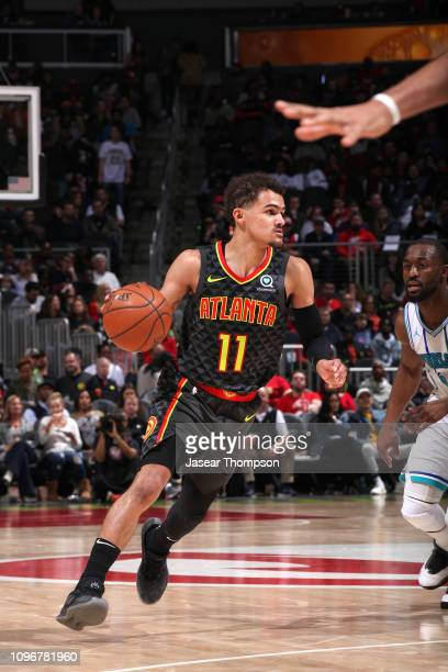 Trae Young of the Atlanta Hawks handles the ball against the Charlotte Hornets on February 9 2019 at State Farm Arena in Atlanta Georgia NOTE TO USER...