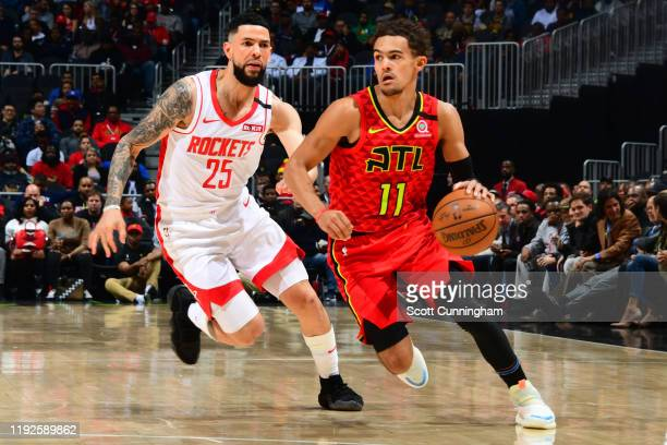 Trae Young of the Atlanta Hawks handles the ball against the Houston Rockets on January 8 2020 at State Farm Arena in Atlanta Georgia NOTE TO USER...