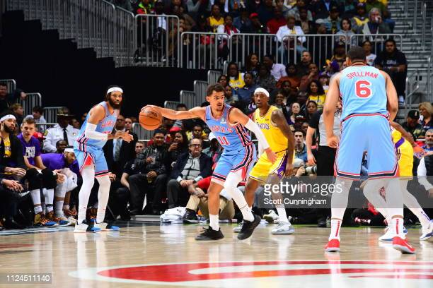Trae Young of the Atlanta Hawks handles the ball against the Los Angeles Lakers on February 12 2019 at State Farm Arena in Atlanta Georgia NOTE TO...