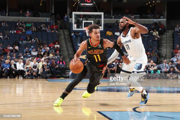 Trae Young of the Atlanta Hawks handles the ball against the Memphis Grizzlies on October 5 2018 at FedExForum in Memphis Tennessee NOTE TO USER User...