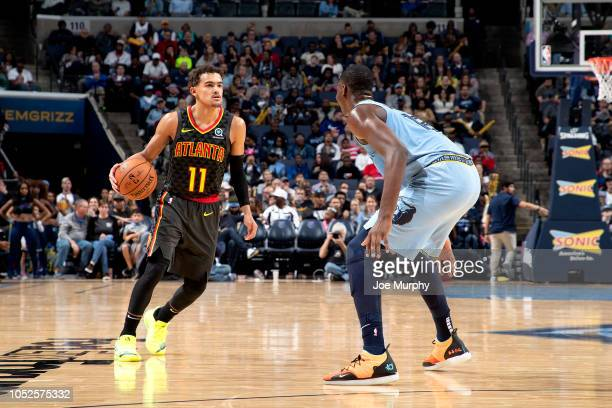 Trae Young of the Atlanta Hawks handles the ball against the Memphis Grizzlies during a game on October 19 2018 at FedExForum in Memphis Tennessee...