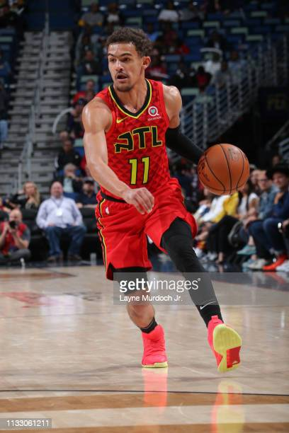 Trae Young of the Atlanta Hawks handles the ball against the New Orleans Pelicans on March 26 2019 at the Smoothie King Center in New Orleans...
