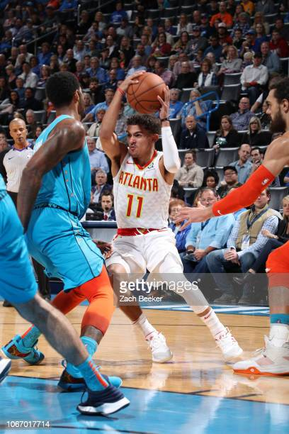 Trae Young of the Atlanta Hawks handles the ball against the Oklahoma City Thunder on November 30 2018 at Chesapeake Energy Arena in Oklahoma City...