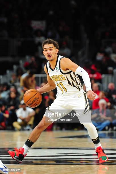 Trae Young of the Atlanta Hawks handles the ball against the Orlando Magic on January 21 2019 at State Farm Arena in Atlanta Georgia NOTE TO USER...