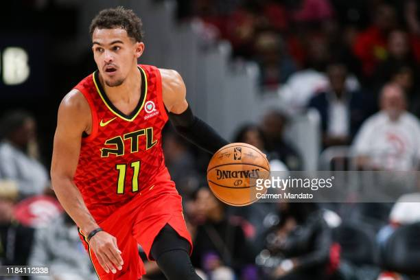 Trae Young of the Atlanta Hawks handles the ball during a game against the Orlando Magic at State Farm Arena on October 26 2019 in Atlanta Georgia...