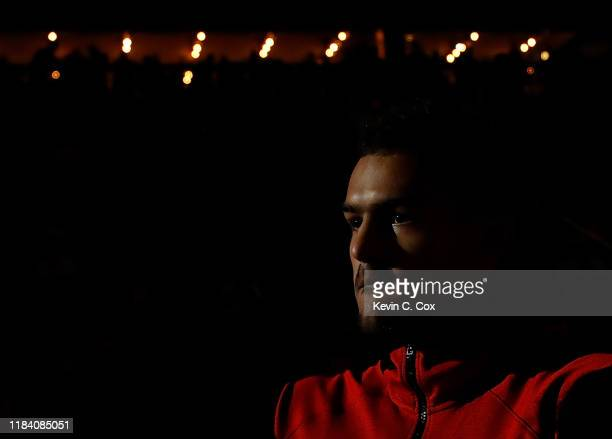 Trae Young of the Atlanta Hawks is introduced prior to facing the Philadelphia 76ers at State Farm Arena on October 28 2019 in Atlanta Georgia NOTE...