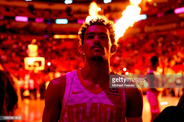 Trae Young of the Atlanta Hawks looks on during pregame introductions against the Miami Heat at American Airlines Arena on November 27 2018 in Miami...