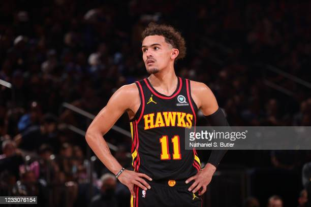 Trae Young of the Atlanta Hawks looks on during Round 1, Game 1 of the 2021 NBA Playoffs on May 23, 2021 at Madison Square Garden in New York City,...