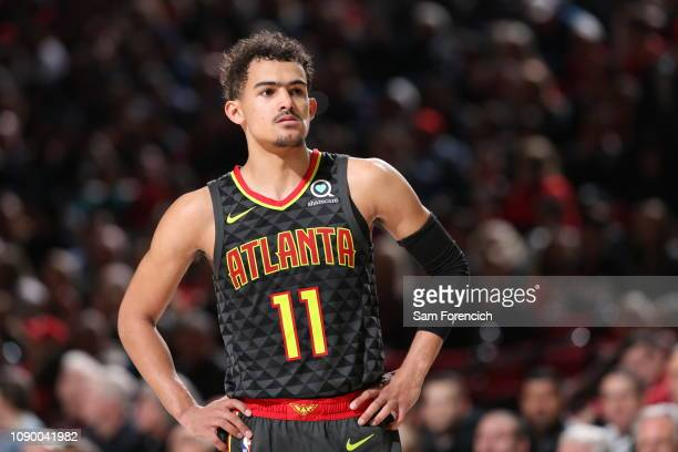 Trae Young of the Atlanta Hawks looks on during the game against the Portland Trail Blazers on January 26 2019 at the Moda Center Arena in Portland...