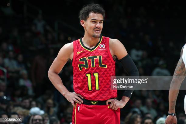Trae Young of the Atlanta Hawks looks on during the game against the Washington Wizards on February 4 2019 at Capital One Arena in Washington DC NOTE...