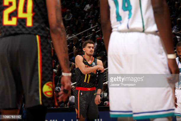 Trae Young of the Atlanta Hawks looks on during the game against the Charlotte Hornets on February 9 2019 at State Farm Arena in Atlanta Georgia NOTE...