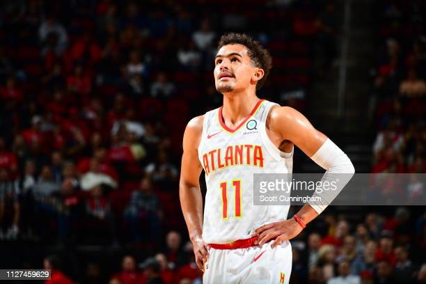 Trae Young of the Atlanta Hawks looks on during the game against the Houston Rockets on February 25 2019 at the Toyota Center in Houston Texas NOTE...
