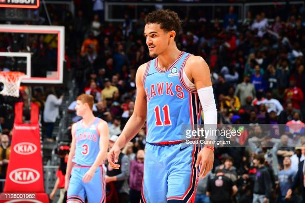 Trae Young of the Atlanta Hawks looks on during the game against the Minnesota Timberwolves on February 27 2019 at State Farm Arena in Atlanta...