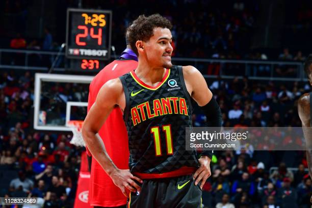 Trae Young of the Atlanta Hawks looks on during the game against the Chicago Bulls on March 1 2019 at State Farm Arena in Atlanta Georgia NOTE TO...
