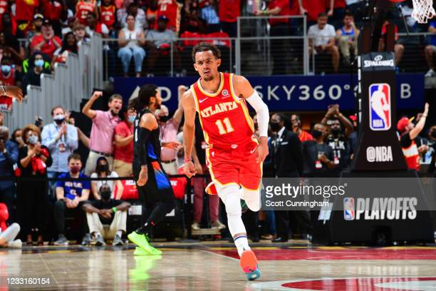 Trae Young of the Atlanta Hawks looks on during the game against the New York Knicks during Round 1, Game 3 of the 2021 NBA Playoffs on May 28, 2021...