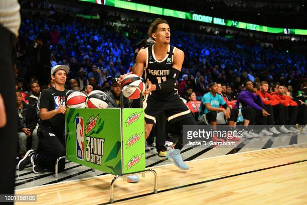 Trae Young of the Atlanta Hawks participates in the 2020 NBA All-Star - MTN DEW 3-Point Contest on February 15, 2020 at the United Center in Chicago,...