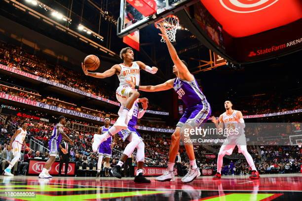 Trae Young of the Atlanta Hawks passes the ball against the Sacramento Kings on November 8, 2019 at State Farm Arena in Atlanta, Georgia. NOTE TO...