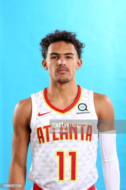 Trae Young of the Atlanta Hawks poses for a head shot during the Atlanta Hawks Media Day on September 24 2018 at the Emory Sports Medicine Complex in...
