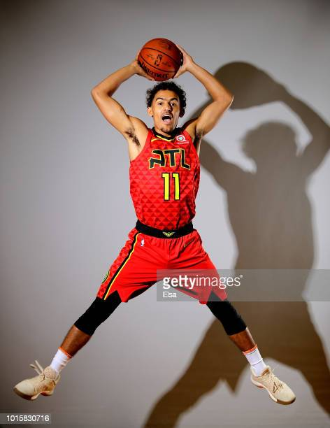 Trae Young of the Atlanta Hawks poses for a portrait during the 2018 NBA Rookie Photo Shoot at MSG Training Center on August 12 2018 in Tarrytown New...