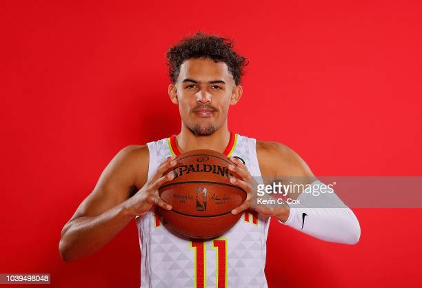 Trae Young of the Atlanta Hawks poses for portraits during media day at Emory Sports Medicine Complex on September 24 2018 in Atlanta Georgia