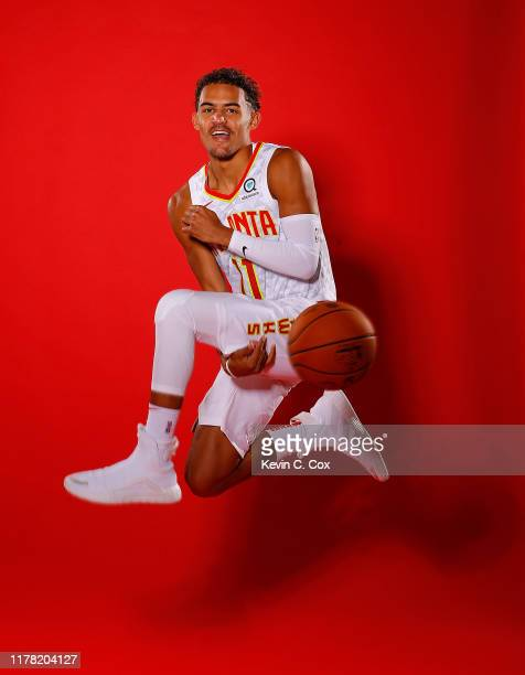 Trae Young of the Atlanta Hawks poses for portraits during media day at Emory Sports Medicine Complex on September 30 2019 in Atlanta Georgia