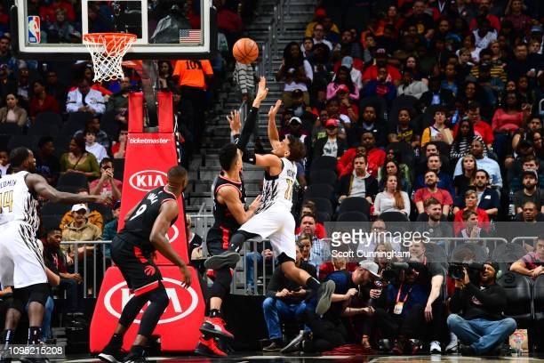 Trae Young of the Atlanta Hawks puts up shot against the Toronto Raptors on February 7 2019 at State Farm Arena in Atlanta Georgia NOTE TO USER User...