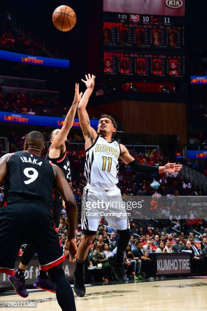 Trae Young of the Atlanta Hawks puts up the shot against the Toronto Raptors on February 7 2019 at State Farm Arena in Atlanta Georgia NOTE TO USER...