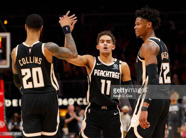Trae Young of the Atlanta Hawks reacts after drawing a foul on a three-point basket in the final minutes of their 122-117 loss to the Toronto Raptors...