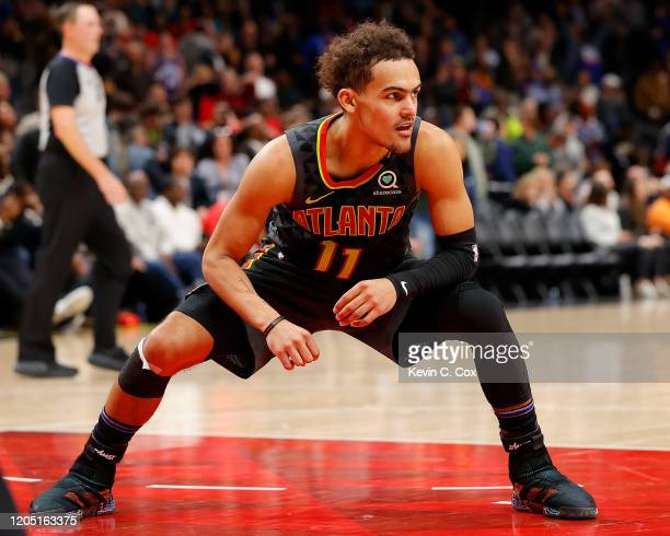 Trae Young of the Atlanta Hawks reacts after missing a basket as time expired in the second half against the New York Knicks at State Farm Arena on...
