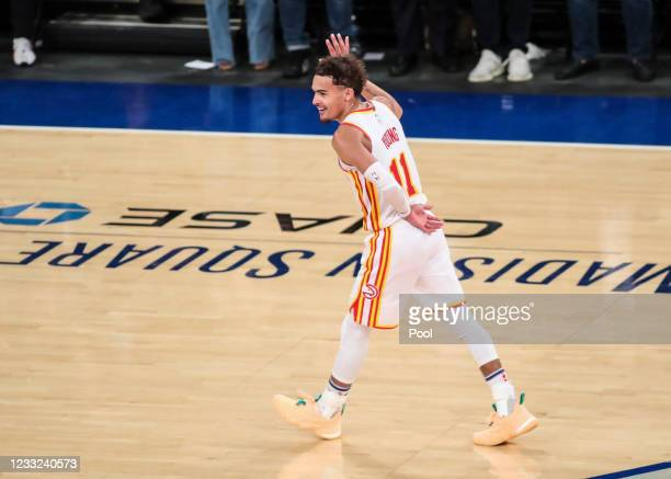 Trae Young of the Atlanta Hawks reacts after scoring a three-point shot against the New York Knicks in the fourth quarter of Game Five of the Eastern...