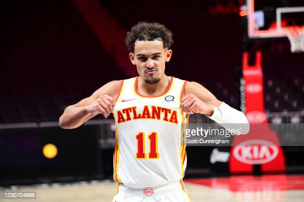 Trae Young of the Atlanta Hawks reacts after the Atlanta Hawks win in overtime over the Detroit Pistons on January 20, 2021 at State Farm Arena in...