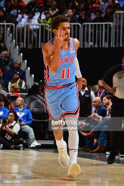 Trae Young of the Atlanta Hawks reacts against the Oklahoma City Thunder on January 15 2019 at State Farm Arena in Atlanta Georgia NOTE TO USER User...