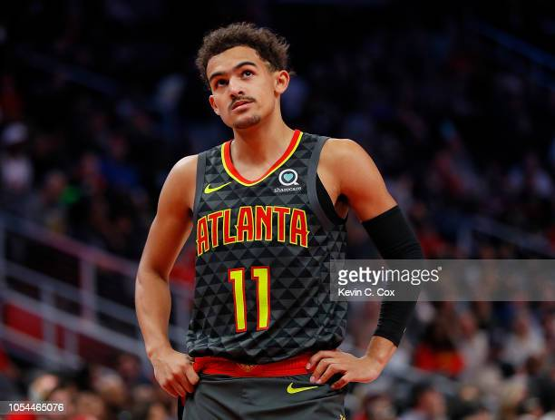 Trae Young of the Atlanta Hawks reacts during the game against the Chicago Bulls at State Farm Arena on October 27 2018 in Atlanta Georgia NOTE TO...