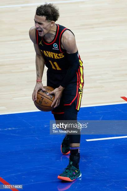 Trae Young of the Atlanta Hawks reacts during the second quarter against the Philadelphia 76ers during Game One of the Eastern Conference second...