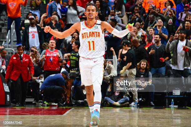 Trae Young of the Atlanta Hawks reacts to play on March 11 2020 at State Farm Arena in Atlanta Georgia NOTE TO USER User expressly acknowledges and...