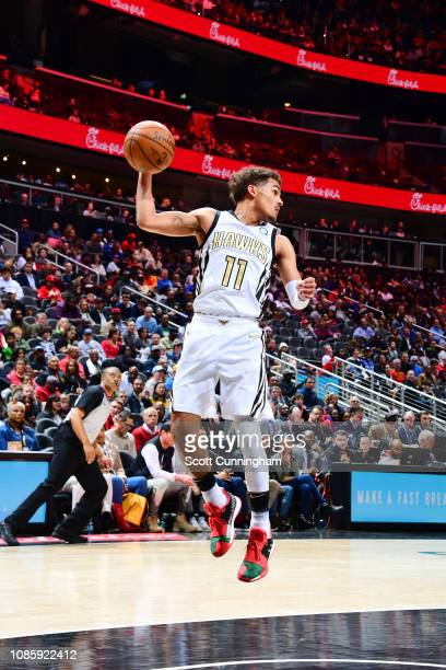 Trae Young of the Atlanta Hawks rebounds the ball against the Orlando Magic on January 21 2019 at State Farm Arena in Atlanta Georgia NOTE TO USER...