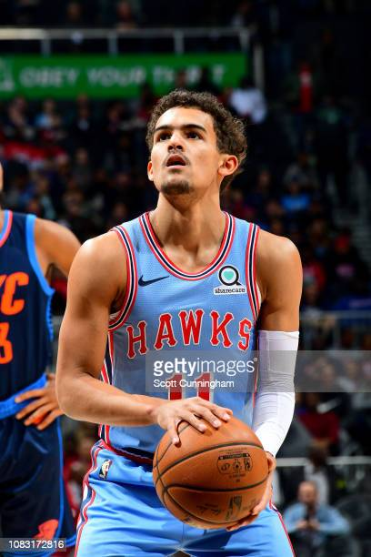 Trae Young of the Atlanta Hawks shoots a free throw during the game against the Oklahoma City Thunder on January 15 2019 at State Farm Arena in...