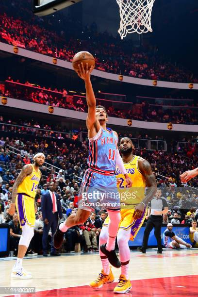 Trae Young of the Atlanta Hawks shoots the ball against the Los Angeles Lakers on February 12 2019 at State Farm Arena in Atlanta Georgia NOTE TO...