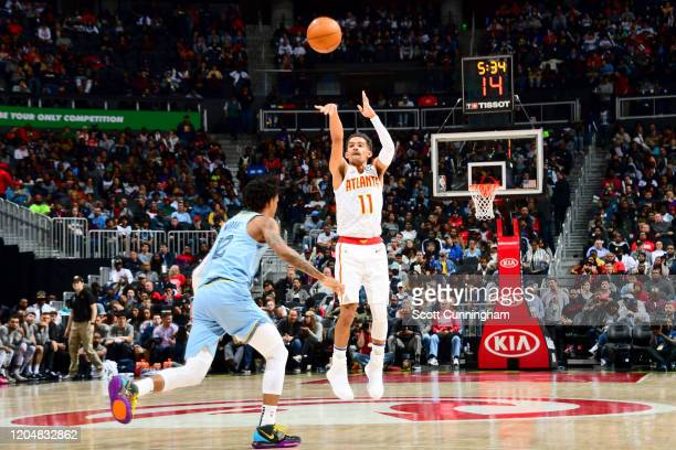 Trae Young of the Atlanta Hawks shoots the ball against the Memphis Grizzlies on March 02, 2020 at State Farm Arena in Atlanta, Georgia. NOTE TO...