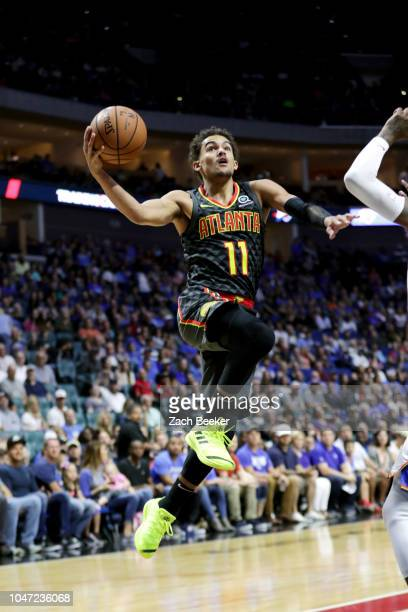 Trae Young of the Atlanta Hawks shoots the ball against the Oklahoma City Thunder during a preseason game on October 7 2018 at BOK Center in Tulsa...