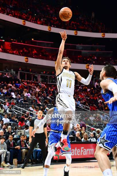 Trae Young of the Atlanta Hawks shoots the ball against the Orlando Magic on January 21 2019 at State Farm Arena in Atlanta Georgia NOTE TO USER User...